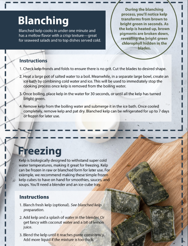 Kelp Prep Card - Blanching and Freezing