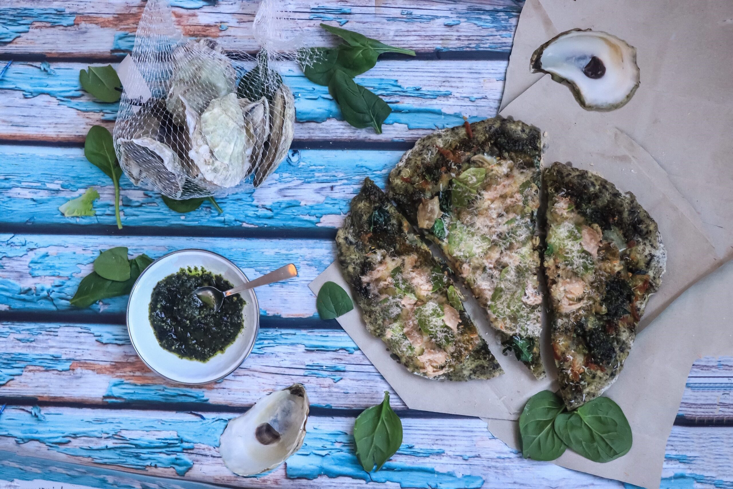 Kelp Crust Pizza with Roasted Oysters
